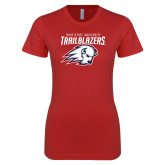 Next Level Ladies SoftStyle Junior Fitted Red Tee-Dixie State University Trailblazers