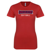Next Level Ladies SoftStyle Junior Fitted Red Tee-Softballt