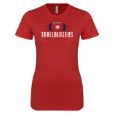 Next Level Ladies SoftStyle Junior Fitted Red Tee-Trailblazers Football