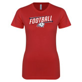 Next Level Ladies SoftStyle Junior Fitted Red Tee-Football Graphic