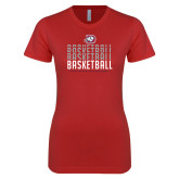 Next Level Ladies SoftStyle Junior Fitted Red Tee-Basketball Graphic