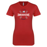 Next Level Ladies SoftStyle Junior Fitted Red Tee-Baseball Graphic
