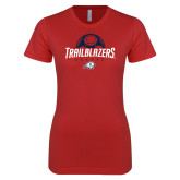 Next Level Ladies SoftStyle Junior Fitted Red Tee-Trailblazers Soccer