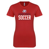 Next Level Ladies SoftStyle Junior Fitted Red Tee-Soccer Graphic