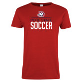 Ladies Red T Shirt-Soccer Graphic