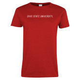 Ladies Red T Shirt-Dixie State University Wordmark