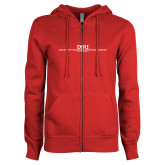 ENZA Ladies Red Fleece Full Zip Hoodie-CHASS with University Name Stacked Two Line