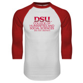 White/Red Raglan Baseball T Shirt-CHASS with University Name Stacked