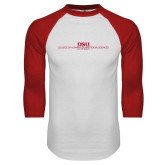 White/Red Raglan Baseball T Shirt-CHASS with University Name Stacked Two Line