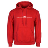 Red Fleece Hoodie-CHASS with University Name Stacked Two Line