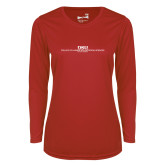 Ladies Syntrel Performance Red Longsleeve Shirt-CHASS with University Name Stacked Two Line