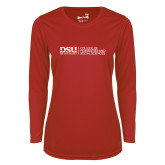 Ladies Syntrel Performance Red Longsleeve Shirt-CHASS with University Name Horizontal
