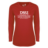 Ladies Syntrel Performance Red Longsleeve Shirt-CHASS with University Name Stacked