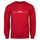 Red Fleece Crew-CHASS with University Name Stacked Two Line