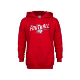 Youth Red Fleece Hoodie-Football Graphic
