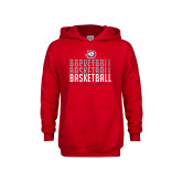 Youth Red Fleece Hoodie-Basketball Graphic