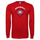 Red Long Sleeve T Shirt-Softball Graphic