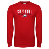 Red Long Sleeve T Shirt-Dixie State Softball