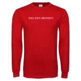 Red Long Sleeve T Shirt-Dixie State University Wordmark