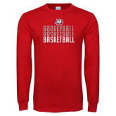 Red Long Sleeve T Shirt-Basketball Graphic
