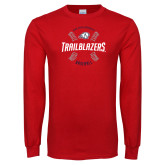 Red Long Sleeve T Shirt-Baseball Graphic