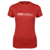 Ladies Syntrel Performance Red Tee-CHASS with University Name Horizontal