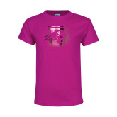 Youth Cyber Pink T Shirt-Primary Logo Foil