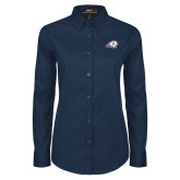 Ladies Navy Twill Button Down Long Sleeve-Secondary Logo