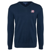 Classic Mens V Neck Navy Sweater-Primary Logo