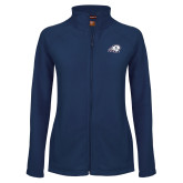 Ladies Fleece Full Zip Navy Jacket-Secondary Logo