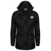 Ladies Black Brushstroke Print Insulated Jacket-Primary Logo