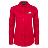 Ladies Red Twill Button Down Long Sleeve-Secondary Logo