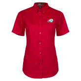 Ladies Red Twill Button Up Short Sleeve-Secondary Logo