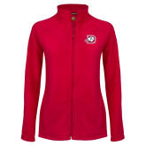 Ladies Fleece Full Zip Red Jacket-Primary Logo