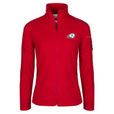 Columbia Ladies Full Zip Red Fleece Jacket-Secondary Logo