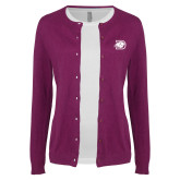 Ladies Deep Berry Cardigan-Primary Logo