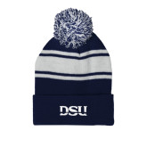 Navy/White Two Tone Knit Pom Beanie w/Cuff-DSU