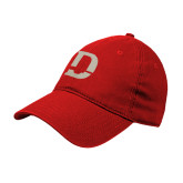 Red Twill Unstructured Low Profile Hat-D Logo