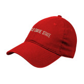 Red Twill Unstructured Low Profile Hat-DSU Flat Word Mark