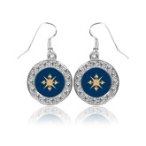 Crystal Studded Round Pendant Silver Dangle Earrings-Compass