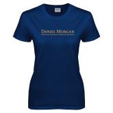 Ladies Navy T Shirt-Wordmark