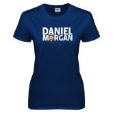 Ladies Navy T Shirt-Daniel Morgan w/ Compass