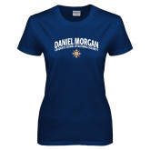 Ladies Navy T Shirt-Arched Daniel Morgan w/ Compass