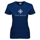 Ladies Navy T Shirt-Daniel Morgan w/ Compass White Soft Glitter