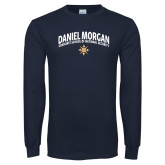 Navy Long Sleeve T Shirt-Arched Daniel Morgan w/ Compass