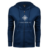 ENZA Ladies Navy Fleece Full Zip Hoodie-Daniel Morgan w/ Compass White Soft Glitter