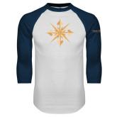 White/Navy Raglan Baseball T Shirt-Compass