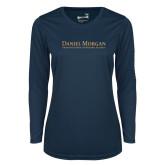 Ladies Syntrel Performance Navy Longsleeve Shirt-Wordmark