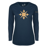 Ladies Syntrel Performance Navy Longsleeve Shirt-Compass