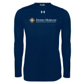 Under Armour Navy Long Sleeve Tech Tee-Primary Mark Flat